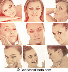 Collage of blonde woman in sepia glow and on white...