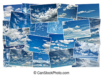 Collage of blue cloudy sky
