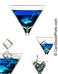 Collage of blue drinks on white background