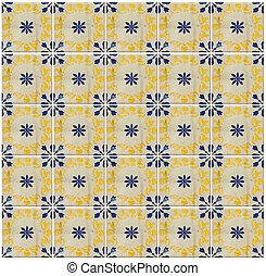 Collage of blue pattern tiles in Portugal