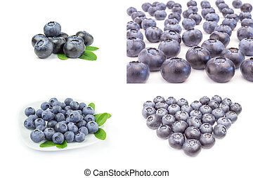 Collage of blueberry over a white background - Set of great ...