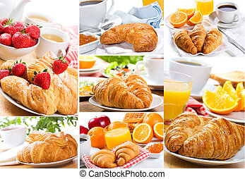 collage of breakfast with croissants