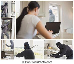 Collage of burglar activity