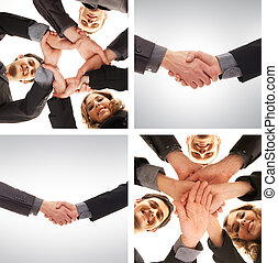 Collage of business hands