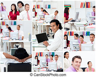 Collage of business people at work