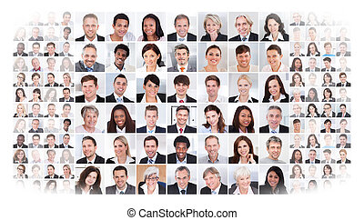Collage of multiethnic business people over white background