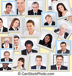 Collage Of Business People Smiling - Collage of diverse...