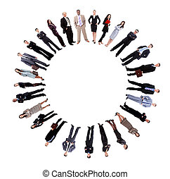 Collage of business people standing around an empty circle