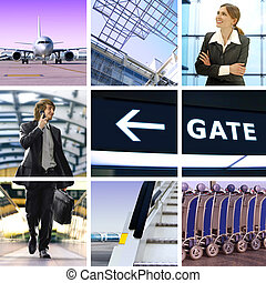 business trip - collage of business trip by means of avia ...