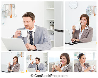 Collage of business workers working on their laptop and having a cup of coffe in kitchen