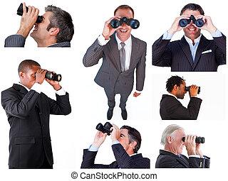 Collage of businessmen using binoculars