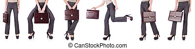 Collage of businesswoman isolated on the white background