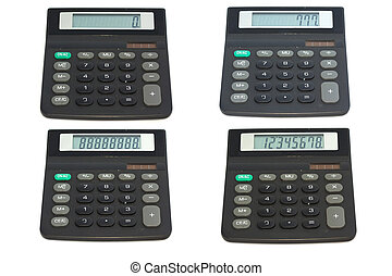Collage of calculators on white background