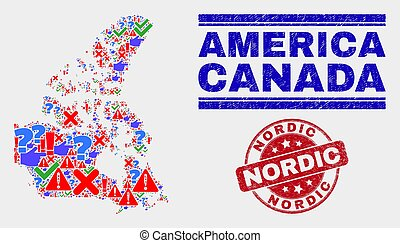 Collage of Canada V2 Map Symbol Mosaic and Grunge Nordic Seal