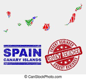 Collage of Canary Islands Map Symbol Mosaic and Scratched Urgent Reminder Stamp