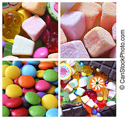 Collage of candies, smarties, chocolate and lollipops
