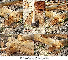 Collage of carpentry workshop.