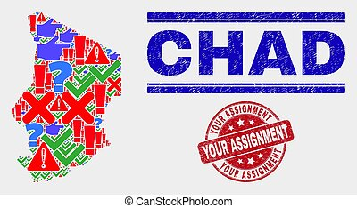 Collage of Chad Map Symbol Mosaic and Grunge Your Assignment Watermark