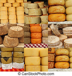 collage of cheese on italian farmer market, Italy