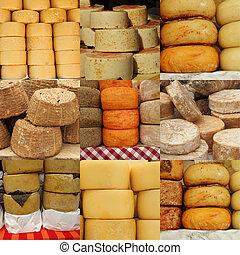 collage of cheese on italian farmer market, Italy