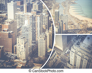 Collage of Chicago ( USA ) images - travel background (my photos)