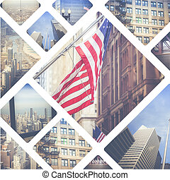 Collage of Chicago ( USA ) images - travel background (my...