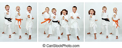 Collage of children athletes who hit a punch arm