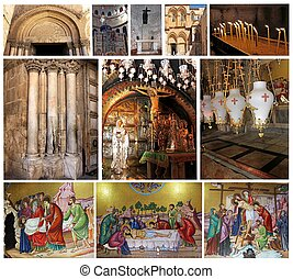 collage of Church of the Holy Sepulcher, Jerusalem, Israel