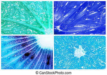 Collage of citrus fruits orange, lemon, grapefruit and kiwi macro closeup in a 2020 color trend in blue tones isolated on white background. Creative idea.