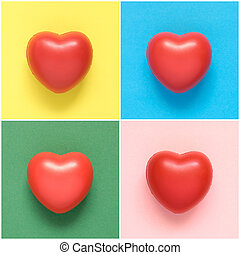 Collage of colorful heart shapes