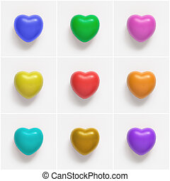 Collage of colorful heart shapes on white background