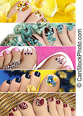Collage of colorful pedicure.