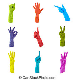 collage of colorful rubber gloves to clean the house isolated on white background