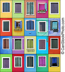 Collage of colorful windows with frames in Burano, Venice, Italy