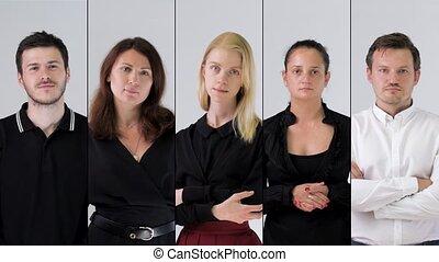 business team portrait - Collage of confident business team...