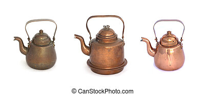 Collage of copper kettles on a white background.