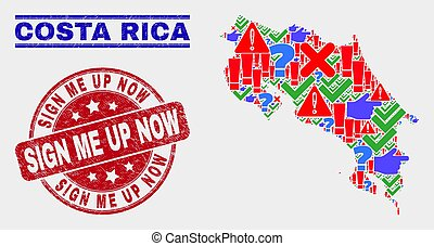 Collage of Costa Rica Map Sign Mosaic and Scratched Sign Me up Now Seal