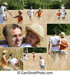 Collage of couple with children in the countryside