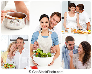 Collage of couples in the kitchen - Collage of young couples...