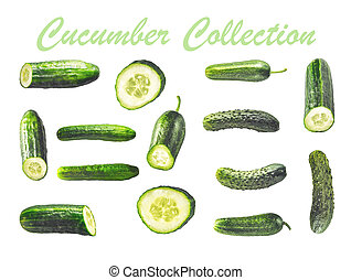 Collage of cucumbers on the white background
