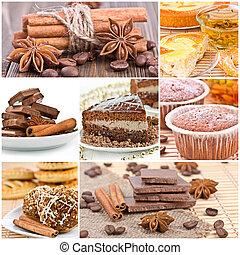 Collage of dessert.