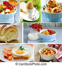 collage of different breakfast