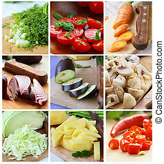 different chopped vegetables