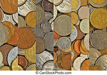 Collage of different coins.