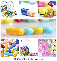 Collage of different colorful pills