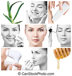 Collage of different facial beauty procedures.
