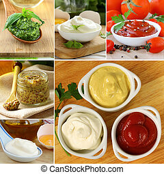 collage of different kinds of sauce (mustard, ketchup, ...