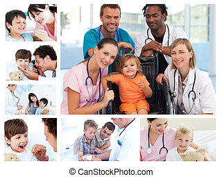 Collage of different medical situations in a hospital