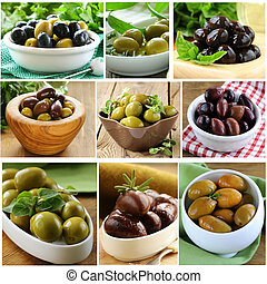 collage of different olives