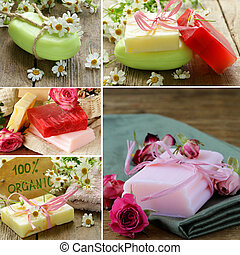 collage of different organic soap